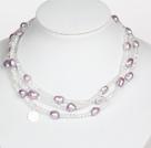 白水晶紫色巴洛克珍珠长款项链