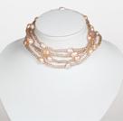 肉粉色水晶巴洛克珍珠长款项链