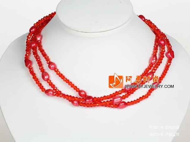亮红色水晶巴洛克珍珠长款项链