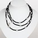 黑色水晶巴洛克珍珠长款项链