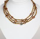 金棕色水晶巴洛克珍珠长款项链