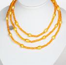 橘黄色水晶巴洛克珍珠长款项链