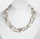 灰色水晶白色巴洛克珍珠长款项链