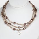 浅棕色水晶巴洛克珍珠长款项链