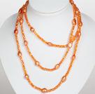 橘色水晶巴洛克珍珠长款项链