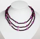 深紫色水晶巴洛克珍珠长款项链