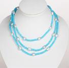 蓝色水晶巴洛克珍珠长款项链