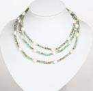 浅蓝色水晶白色巴洛克珍珠长款项链
