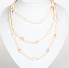 粉色水晶巴洛克珍珠长款项链