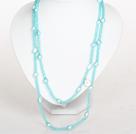 天蓝色水晶巴洛克珍珠长款项链