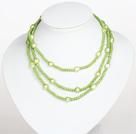 草绿色水晶巴洛克珍珠长款项链