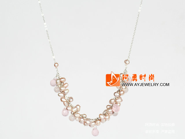 珍珠芙蓉石水晶项链