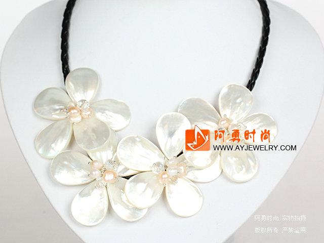 水晶珍珠白色贝壳花项链