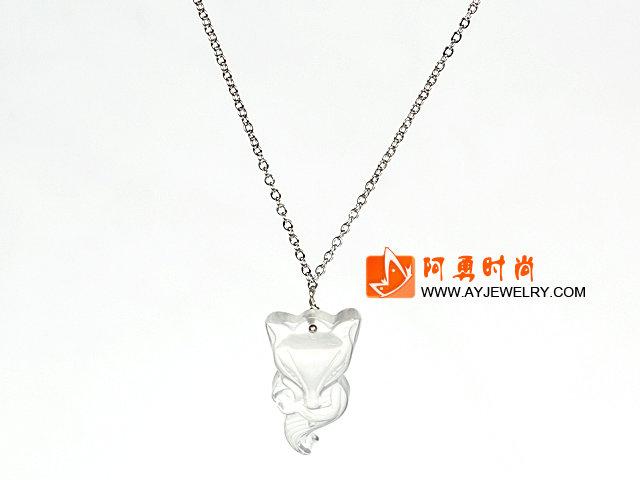 白水晶狐狸吊坠项链