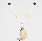 象牙果白瓷石黑玛瑙项链