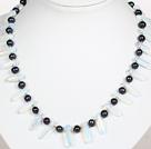 黑珍珠蛋白水晶项链
