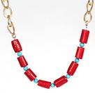 珊瑚松石项链配合金链
