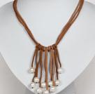 10-11mm白珍珠棕色绒绳流苏项链