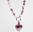 紫水晶项链配紫晶心形吊坠