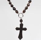 天然茶水晶松石十字架吊坠项链
