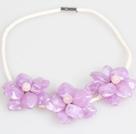 紫色亚克力花朵皮绳项链