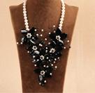 黑白珍珠黑玛瑙花项链