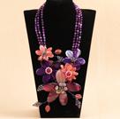 粉紫色水晶玛瑙花项链