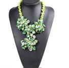 绿色系珍珠贝壳水晶花项链