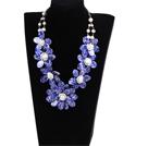 白珍珠蓝贝壳花项链