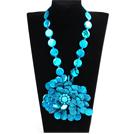 蓝色系彩绘贝壳花项链