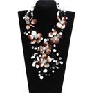 棕白系珍珠水晶贝壳花项链