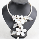 白珍珠水晶贝壳花项链