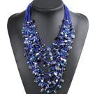 蓝色系15层珍珠水晶项链