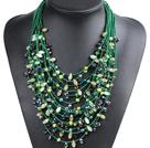 绿色系15层珍珠水晶项链