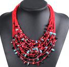 红色系15层珍珠水晶项链