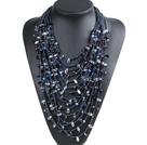 黑色系15层珍珠水晶项链