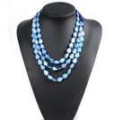蓝色水晶贝壳项链