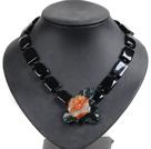 黑玛瑙红玛瑙花项链