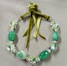 绿色系水晶玛瑙项链 可调节长度