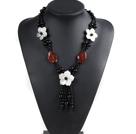 黑玛瑙红玛瑙贝壳花项链