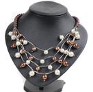 棕白色贝壳珠项链