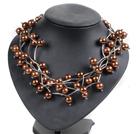 棕色系贝壳珠项链