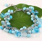 蓝色珍珠水晶松石手链 合金链charm款