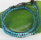 蓝水晶皮绳/蜡绳编制手链