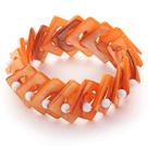 橘色贝壳弹力手链