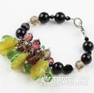 黑玛瑙水晶橄榄玉手链