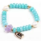 蓝玉珍珠紫晶手链