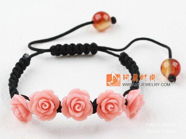 粉色花朵松石手链