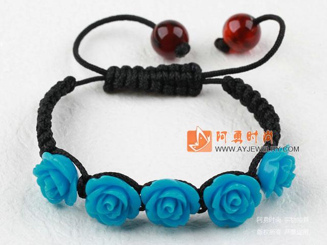 天蓝色花朵松石手链