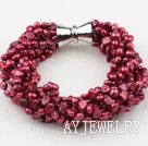 紫红色多股珍珠手链 多股扭扭款